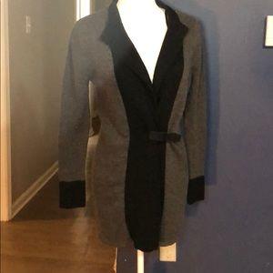 Black & Gray Tweeds Buckle Cardigan